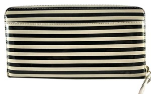 Kate Spade White and Black Striped Patent Leather Zip Around Wallet Organizer