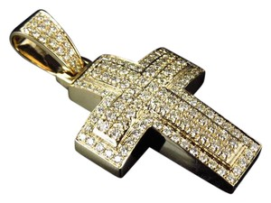Other Dome Shape Genuine Diamond 1.5 Inches Cross Pendant (2CT)