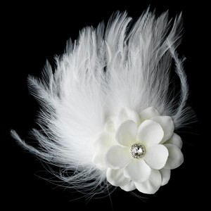 Elegance By Carbonneau Flower Feather Fascinator Bridal Hair Clip 421