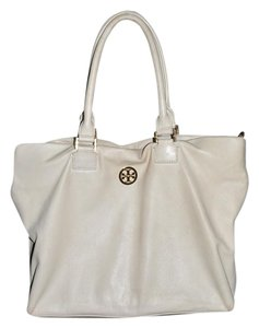 Tory Burch Double Handle Shoulder Leather Satchel in Cream