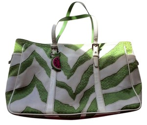 Coach Animal Print Luggage Tag Cat Free Smoke Free Satchel in Green with white zebra stripes