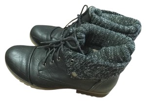 Refresh Synthetic Ankle Combat-style Faux Leather Upper Knitting Flip Over Black Boots
