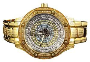 Techno Com by KC Colored Stones Dial Stainless Steel Gold PVD Diamond Watch 8.0ct.