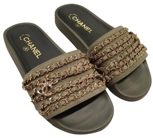Chanel olive green Sandals