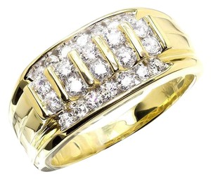 Other Vertical Rows Genuine Diamond Wedding Band Pinky Ring 1.0ct