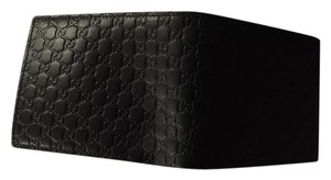 Gucci Gucci 292533 Men's Navy Leather Micro GG Guccissima Bifold Wallet