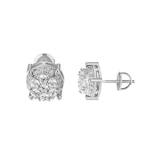 Other Solitaire Round Earrings Screw Back 11mm Simulated Diamonds Mens Women