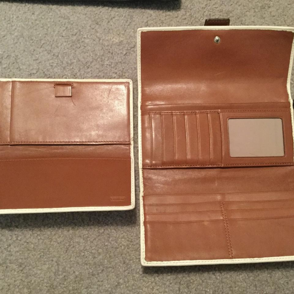 coach off white with check register holder wallet tradesy