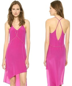 Haute Hippie short dress Magenta Silk Asymmetric Mara Hoffman on Tradesy