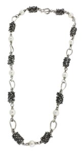 Michael Dawkins Michael Dawkins heavy pearl necklace in sterling silver.