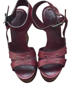 Chloé maroon red Wedges