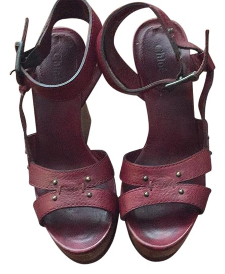 Chloé maroon red Wedges Image 0