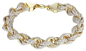 Other Rope Link Bracelet Gold Finish Iced Out Simulated Diamond 11mm