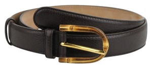 Gucci Women's Cocoa Brown Leather Belt w/Bamboo Buckle 95/38 322954 2140