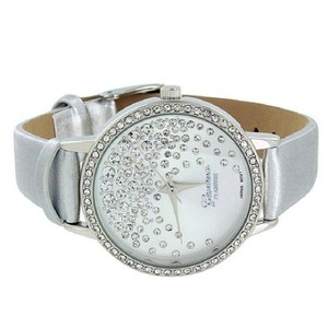 Geneva Silver Leather Band Watch Simulated Diamonds Womens Floating Stones
