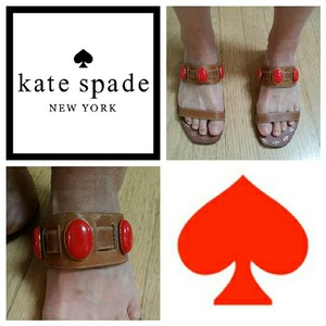 Kate Spade Sz 5 Tan & Orange Sandals