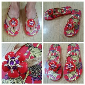 Miss Trish Floral Flipflops Red Sandals