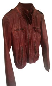 Pepe Jeans Vintage Faux European Rocker Red Leather Jacket