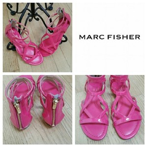 Marc Fisher Pink Gladiator Zippers Strappy Hot Pink Sandals