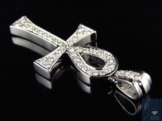 Other 14k White Gold Dia Ankh Cross Genuine Diamond 1.3 Inch Pendant (.50CT)
