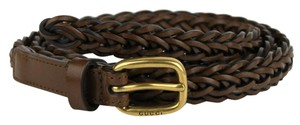 Gucci Brown Braided Leather Skinny Belt w/gold Buckle 85/34 380607 2617