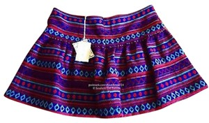 Mes Demoiselles Mini Swingy Peasant Embroidered Pima Chic Mini Mini Skirt Purple