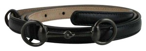 Gucci Black Leather Thin Belt w/Gray Horsebit Buckle 100/40 282349 1000