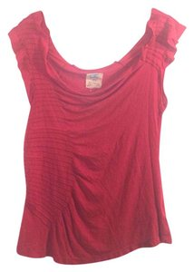 Anthropologie Asymmetrical Open Ruching Gathered Chutes Top Pink