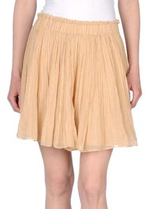 Mes Demoiselles Mini Swingy Peasant Gauzy Pleated Chic Paris French Mini Skirt Beige
