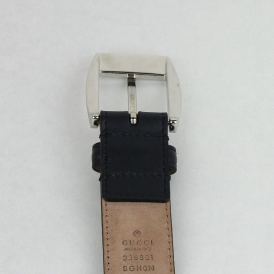 Gucci Gucci Navy Blue Leather Belt w/silver Buckle 115/46 336831 4009