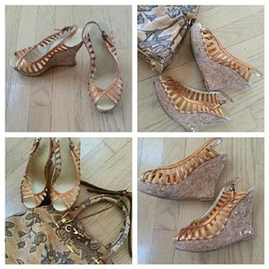 BCBGMAXAZRIA Sandals Strappy Cage Bronze Wedges