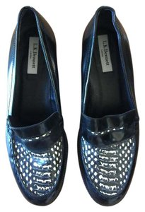 L.K. Bennett Euro Size 38 Patent Leather Snakeskin Loafer Black Flats