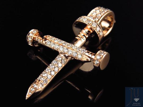 Other Mens Nail Cross Genuine Diamonds 1.3 Inches Charm Pendant 0.80ct