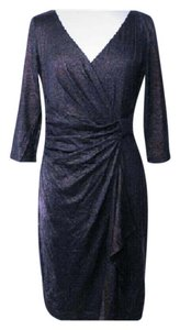 David Meister Designer Metallic Wrap V-neck Dress