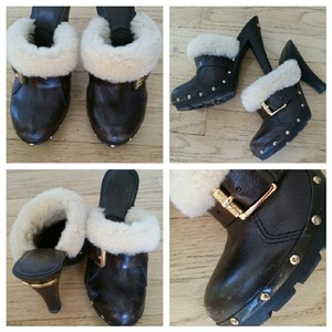 Michael Kors Suede Bootie Boot Shearling Brown Mules