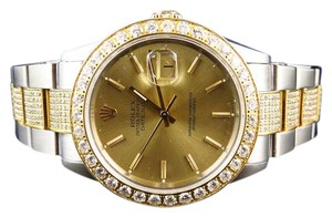Rolex Rolex 2 Tone Stainless Steel Oyster Band Diamond Watch 6.0 Ct