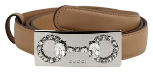 Gucci Light Brown Leather Belt w/crystal Encrusted Buckle 95/38 370547 2787