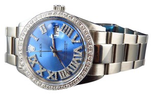 Rolex Mens Datejust Stainless 36MM Blue Dial Diamond Watch 3.0 Ct