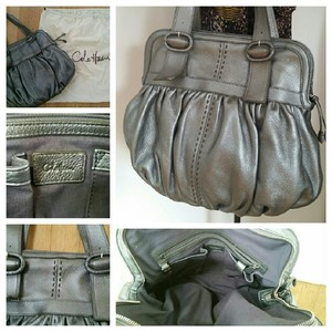 Cole Haan Pewter Metallic Satchel in Silver