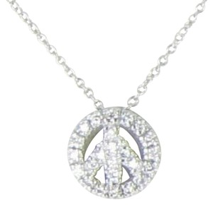 Roberto Coin Tiny Treasures Baby Peace Sign Necklace 0.24cts Diamonds 18k W Gold