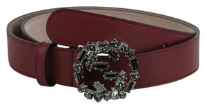 Gucci Burgundy Leather Belt with Studded GG Buckle 90/36 354381 6263