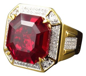 Other Royal Asscher Cut Ruby Real Diamonds Statement Ring 0.50ct