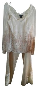 ECI New York Silk Embroidered Lace Trim Top Cream