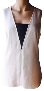 Kenneth Cole Tuxedo Black And White Sleeveless Scooped Faux Leather Top black, white