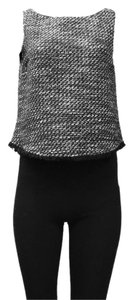 DREW Lined Boat Neck Metallic Thread Top black white gold