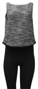 DREW Lined Boat Neck Thread Top black white gold metallic