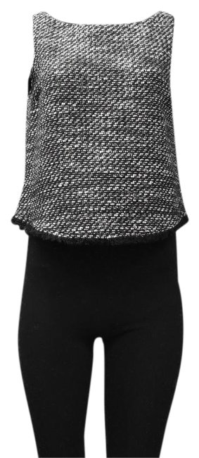 DREW Lined Boat Neck Thread Top black white gold metallic Image 0