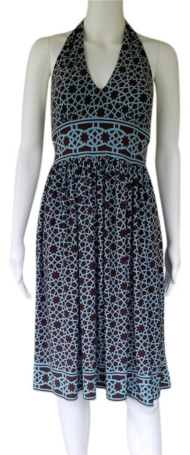 Item - Brown Aqua Pull-on Slinky Halter Short Casual Dress Size 6 (S)