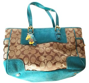 Coach Cat Free Smoke Free Satchel in turquoise and brown