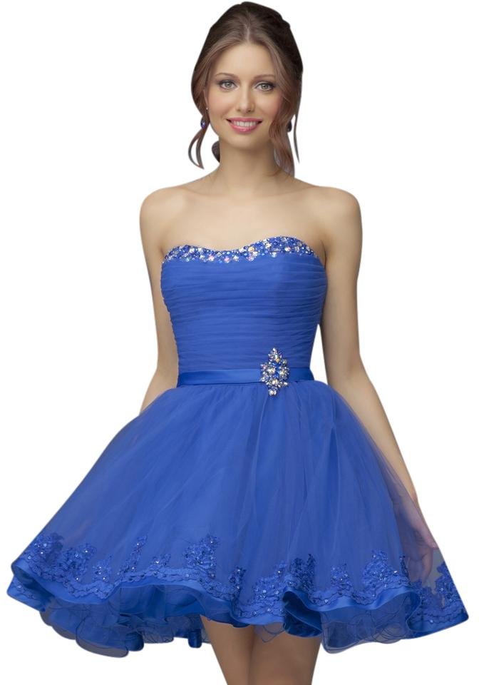 Mori Lee Dark Blue Lace Hem Flirty Short Ball Gown Mid-length Formal ...